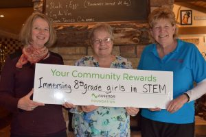 AAUW Members accepting the Community Rewards for Immersing 8th grade girls in STEM